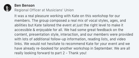 Singing Workshops UK, May 2018