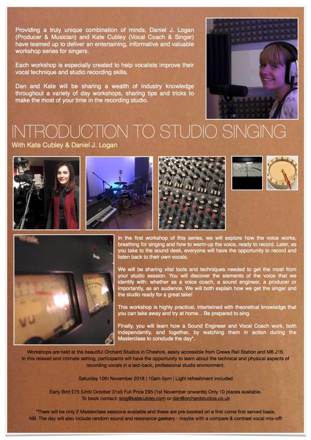 introduction to studio singing, orchard studios, kate cubley, daniel j. logan, crewe voice coaching